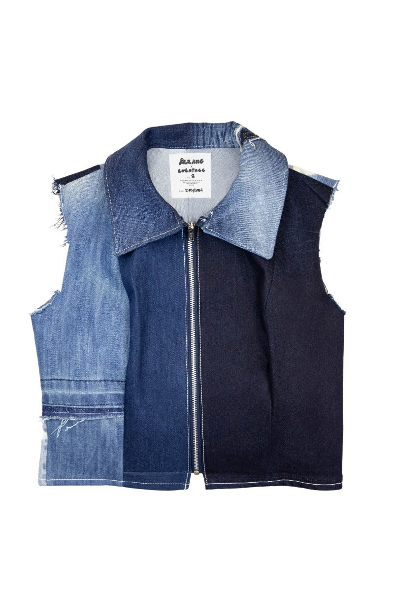 Reworked Denim Sleeveless Shirt