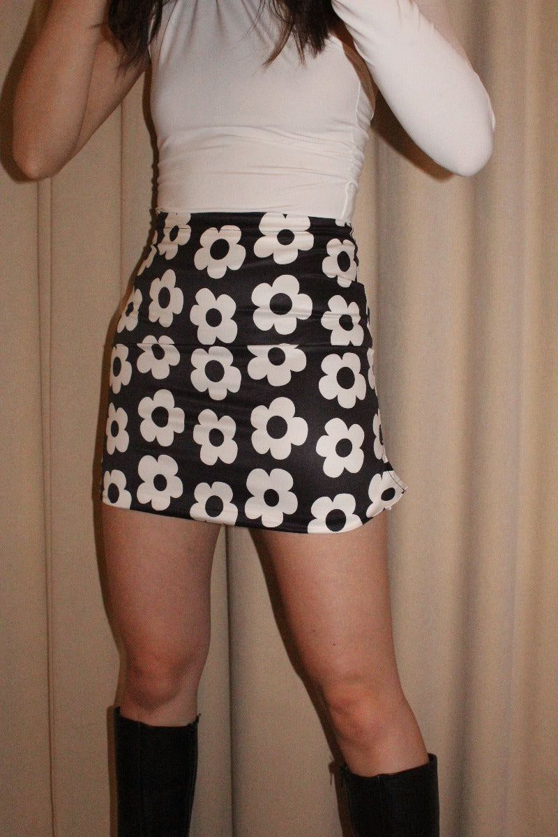 Black Daisy Print Mini Skirt