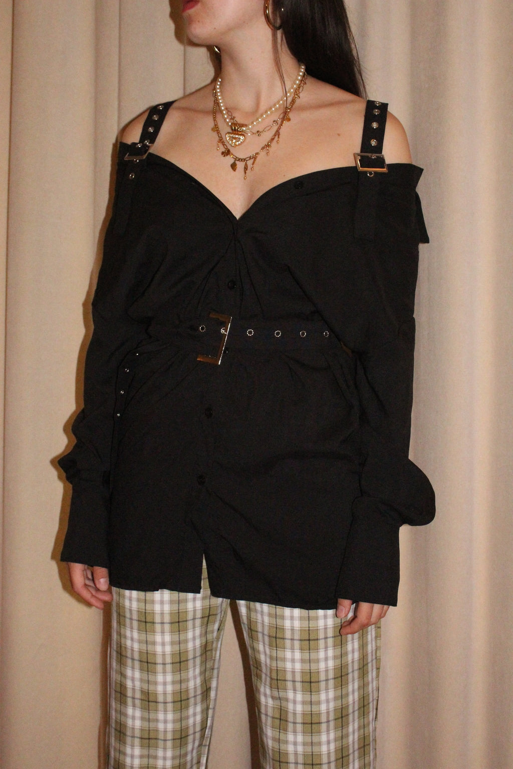 Black Buckle Belted Shirt