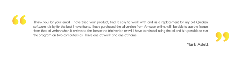 Personal Finance Software user's testimonial