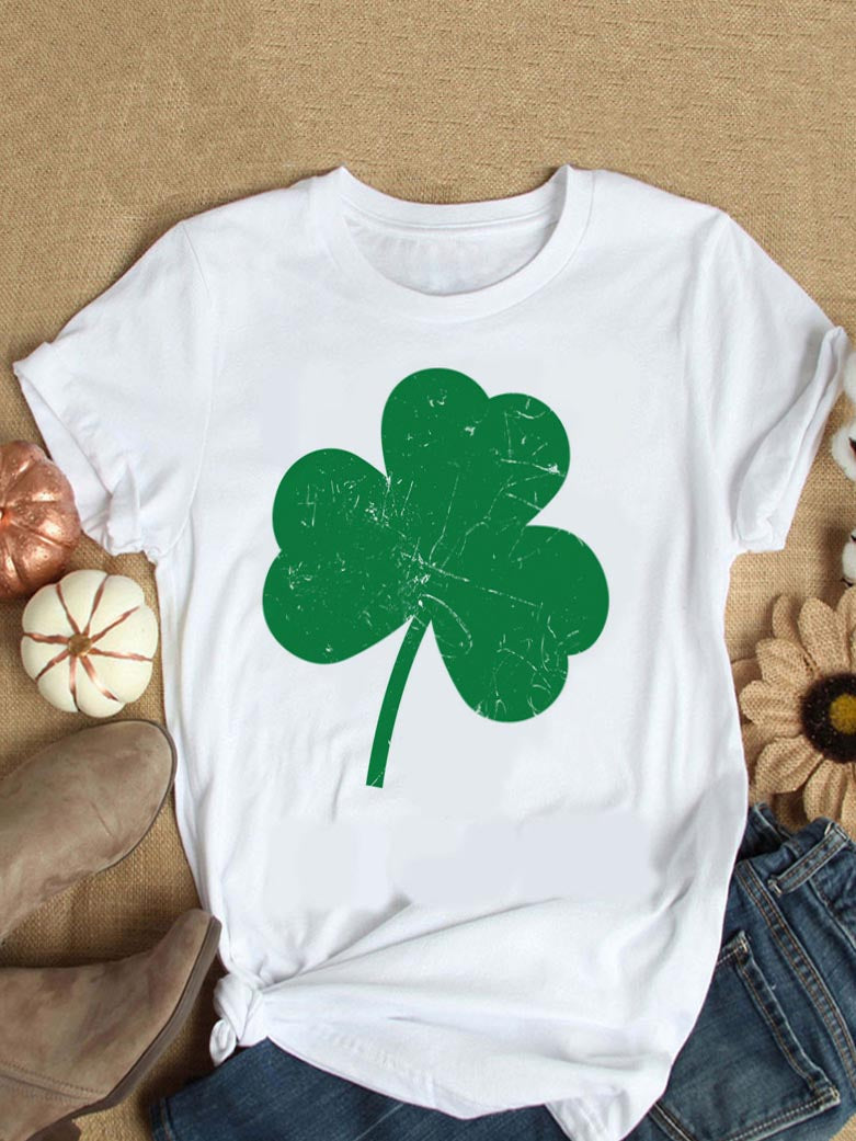 Women's Clover Print Crew Neck T-Shirt