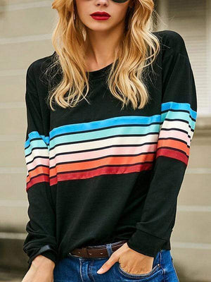 Rainbow Striped Casual O Neck T-shirts