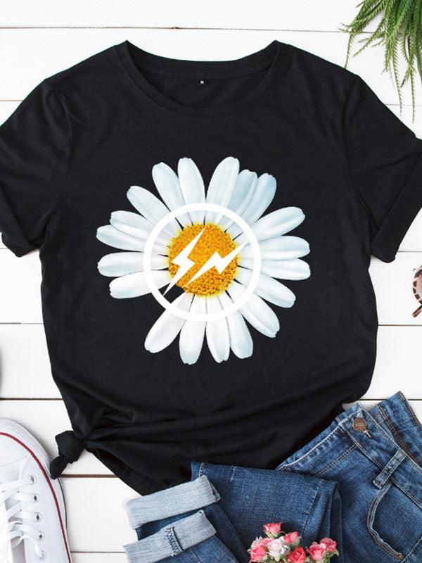 Women's Little Daisy Print Solid Color Short Sleeve T-Shirt