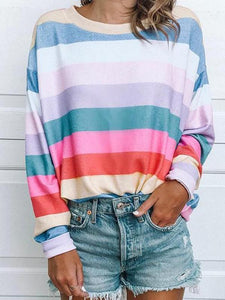 Beautiful World Striped Multicolor T-shirts