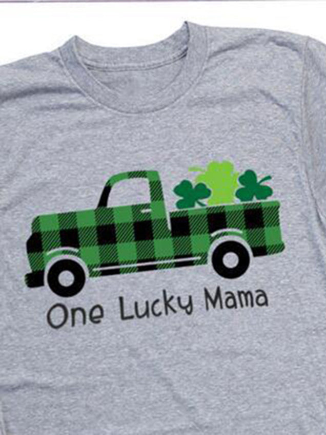 Women's One Lucky Mama Plaid Print T-Shirt