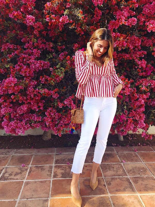 V-Neck Stripe Blouses