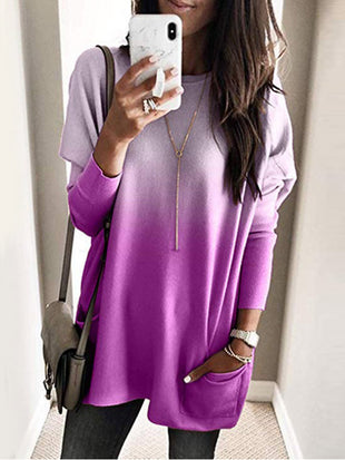 Women's Fashion Gradient Striped Round Neck Long Sleeve Top