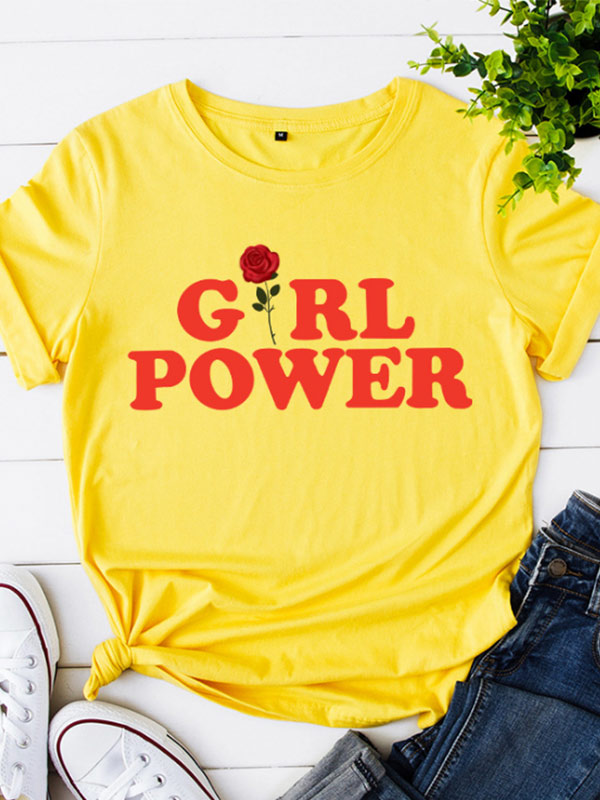 Women's GIRL POWER Print Solid Color Short Sleeve T-Shirt