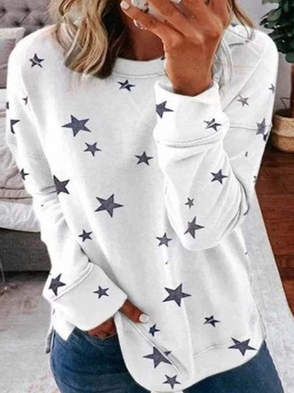 Women's Star Print Stitching Fashion Top