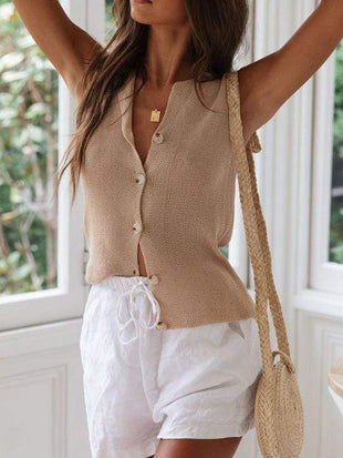 Knitted Sleeveless Button Vest