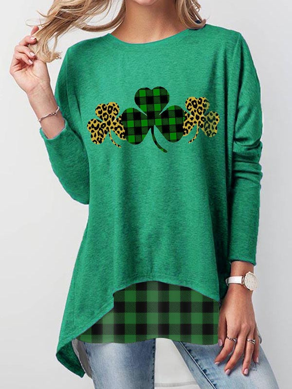 Plaid Leopard Printed Clover Long Sleeve T-Shirt