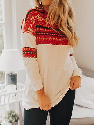 Snowflake Colorblock Long Sleeve Blouse