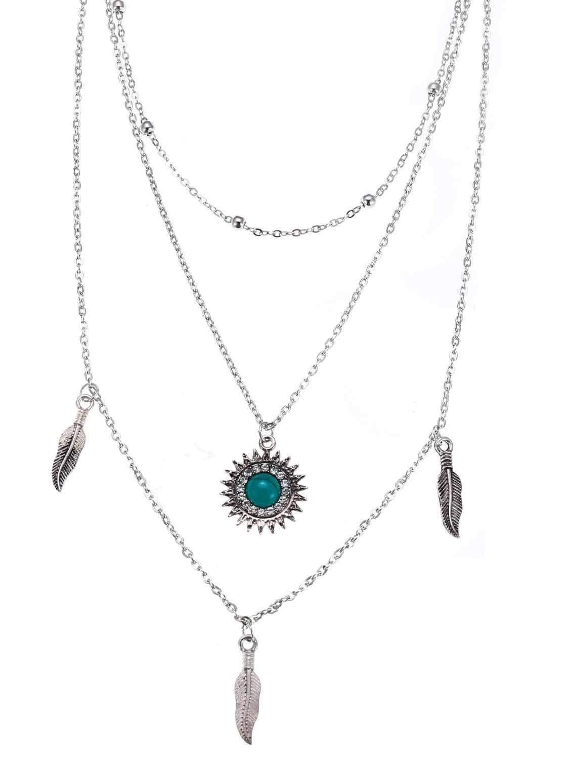 Vintage 3 Layer Sun Feather Necklace Chain