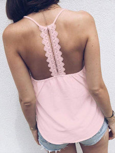 Lace Splicing Button Racerback Tanks