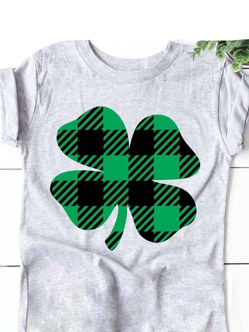 Women's  Plaid Clover Print T-Shirt