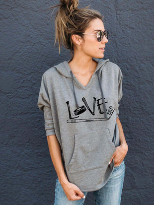 Love Ice Hockey Hooded Long Sleeve Sweatshirt