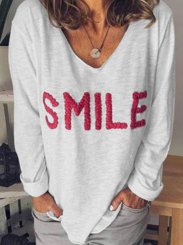 Women's SMILE Letter Embroidered Long Sleeve T-Shirt