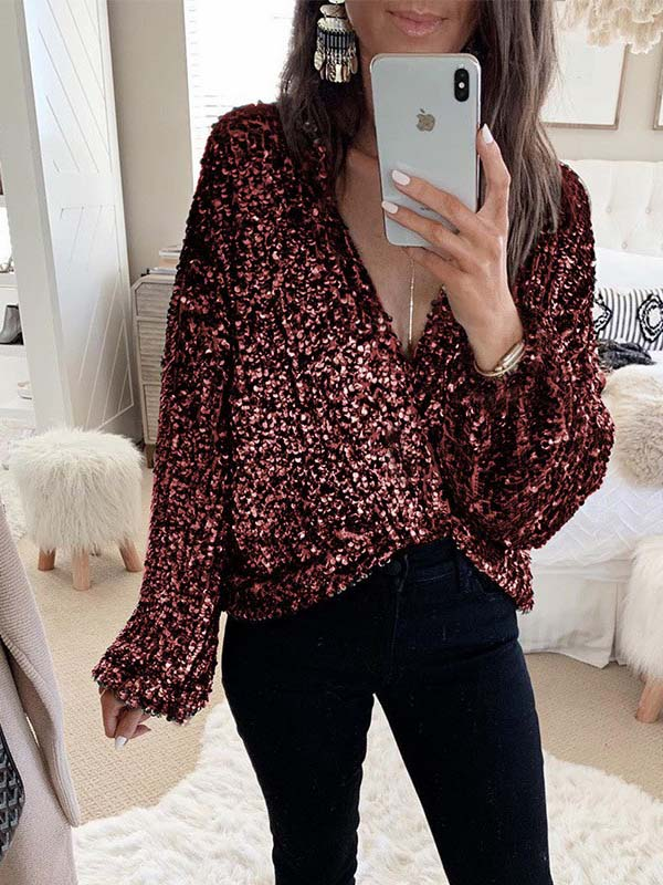 Women's Casual Long-Sleeved Sequined Shirt