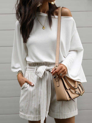 Off-The-Shoulder Flared Sleeves Blouse