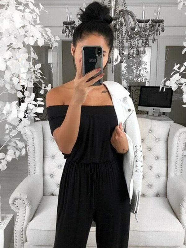 Casual Cold Shoulder Ties Jumpsuits