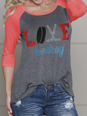 Women's Love Hockry Mom Raglan Top