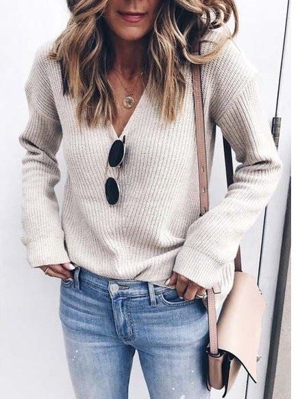 V-neck Loose Sweater Knitwear