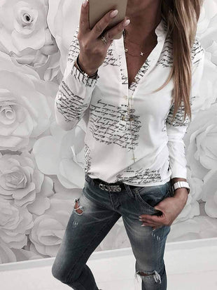 Letter Print V-neck Long Sleeve Blouses
