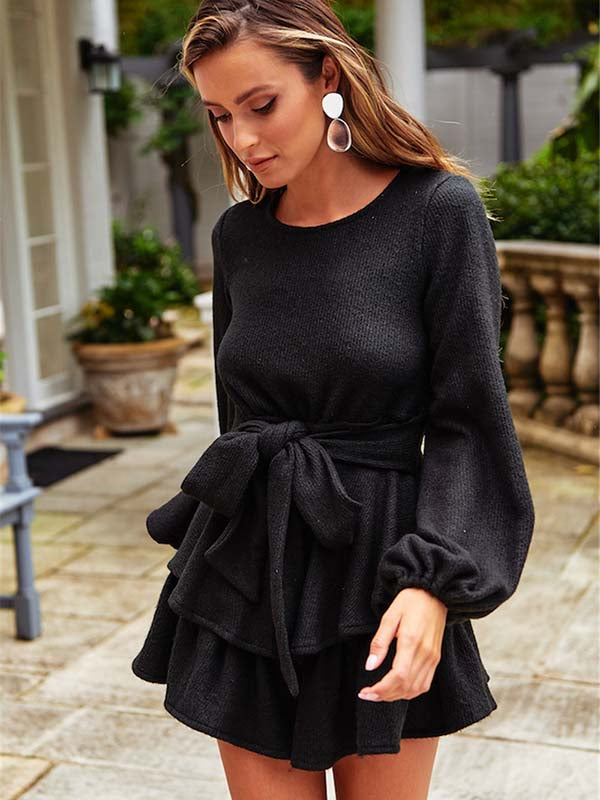 Casual Round Neck Laced Irregular Dress