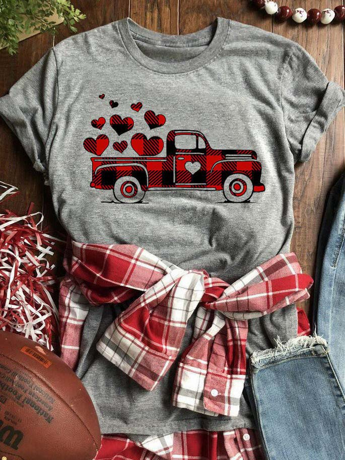 Valentine's Day Plaid Printed Splicing Car Heart T-Shirt