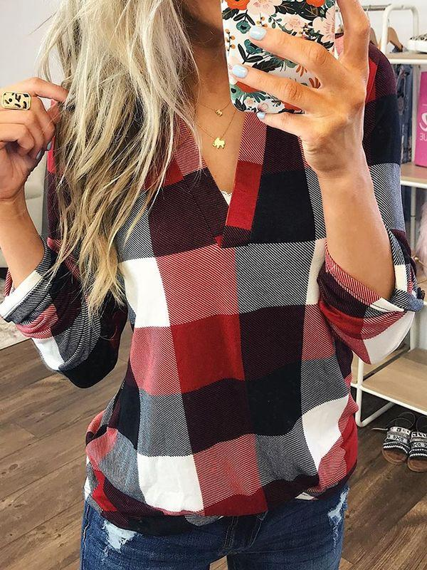 Super Soft Plaid Top With V-neckline