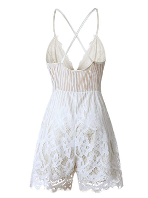 Solid Lace Ripple Romper without Necklace