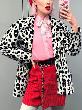 Women Cow Print Loose Slim Suit Jacket