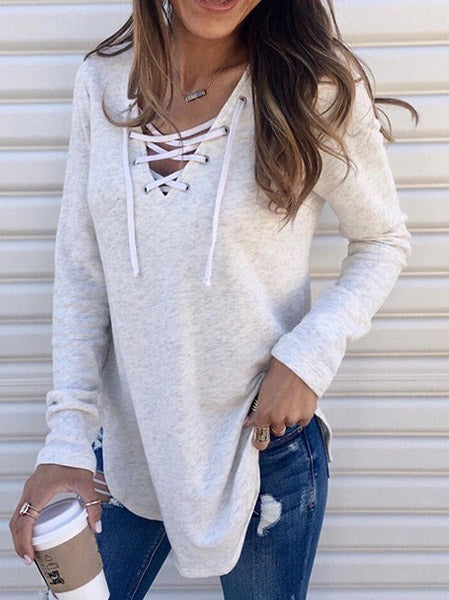 V-Neck Tied Bandwidth Loose Blouse