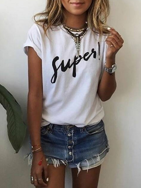 Women's SUPER Printed Letter T-Shirt