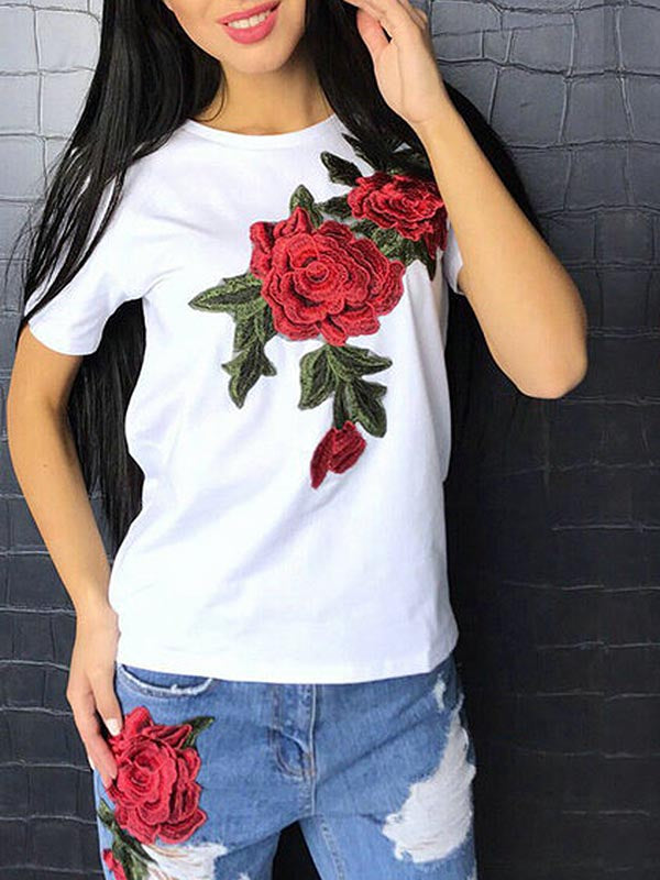 Women's Casual Embroidered Floral Round Neck Short Sleeve T-Shirt