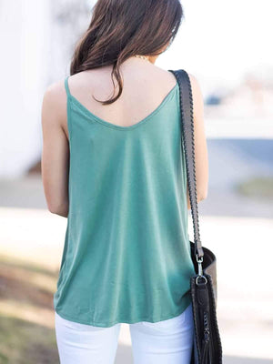 Solid V-neck Tanks Top
