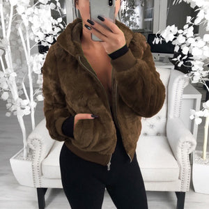 Hooded autumn and winter fox fur rabbit fur coat