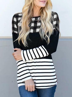 Plaid Splicing Striped O-Neck Blouse