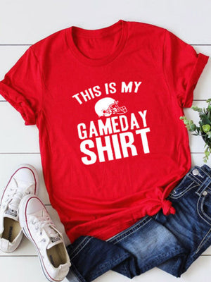 Women's THIS IS MY GAMEDAY SHIRT Printed Short Sleeve T-Shirt