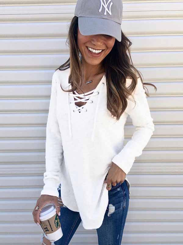 Autumn Long Sleeve V-neck Tether Top