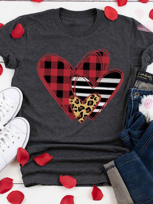 Valentine's Day Striped Plaid Leopard Printed Splicing Heart T-Shirt