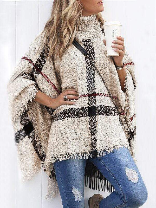 Burberry  Plaid Tassels Batwing Cloak Sweaters
