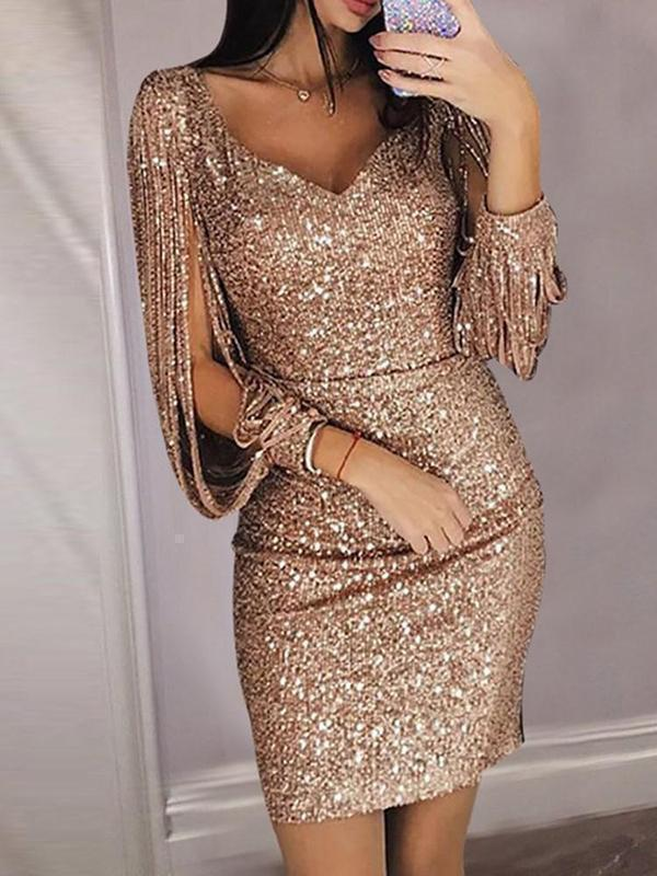 Tassels Slit Sleeve Sequin Party Dresses