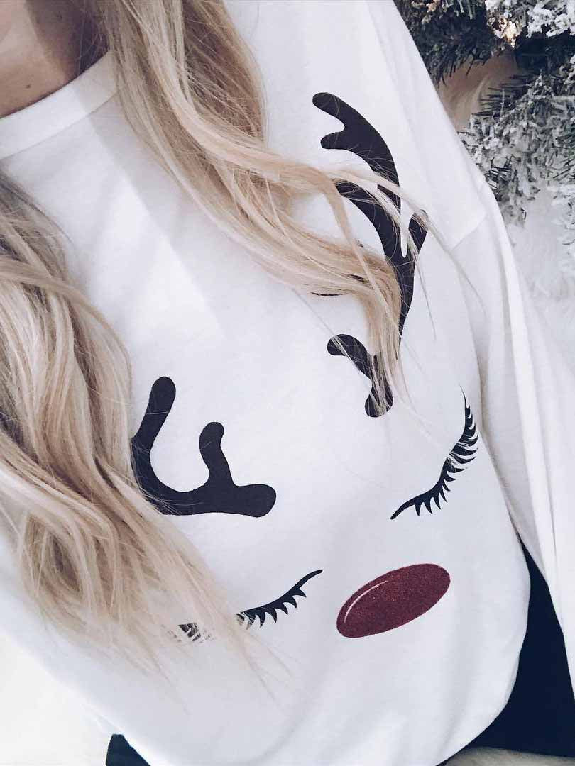 Elk Print Long Sleeve T-Shirt