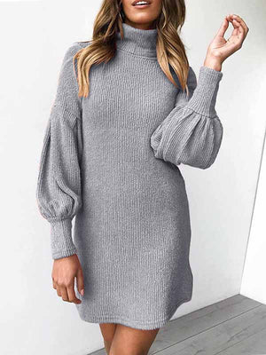 Threaded Round Neck Long Sleeved Hip Dress