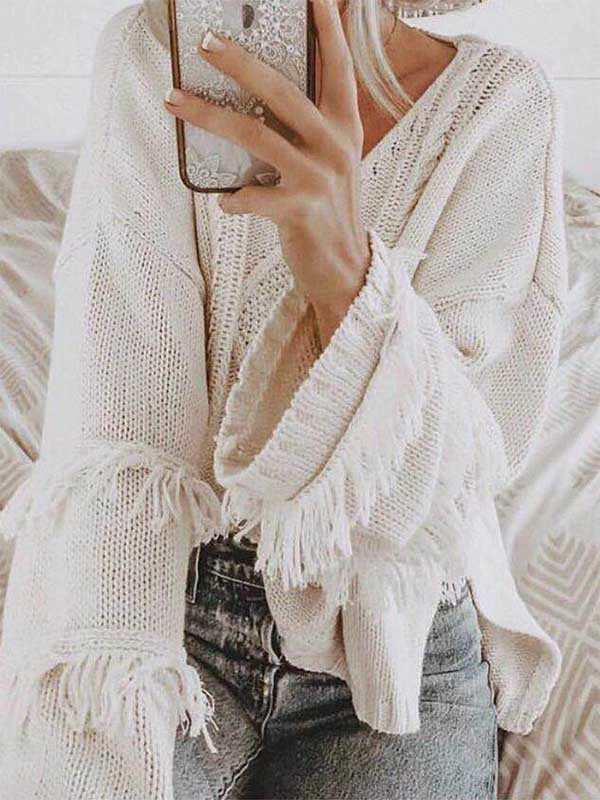 Pure Color Tassel Pullover Sweater