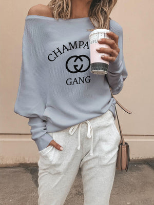 Champagne Gang Off The Shoudler Sweaters