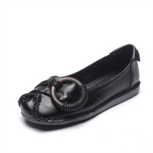 Vintage leather ethnic style handmade shallow mouth flat shoes
