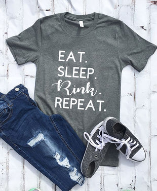 Eat Sleep Rink Repeat Hockey Mom T-Shirt
