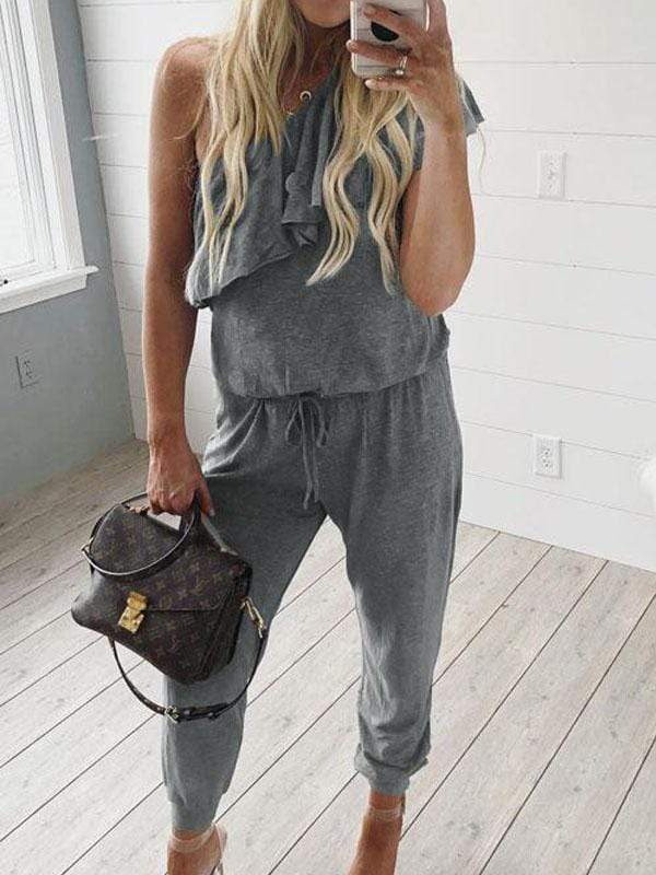 One Shoulder Ruffle Design Loose Jumpsuits